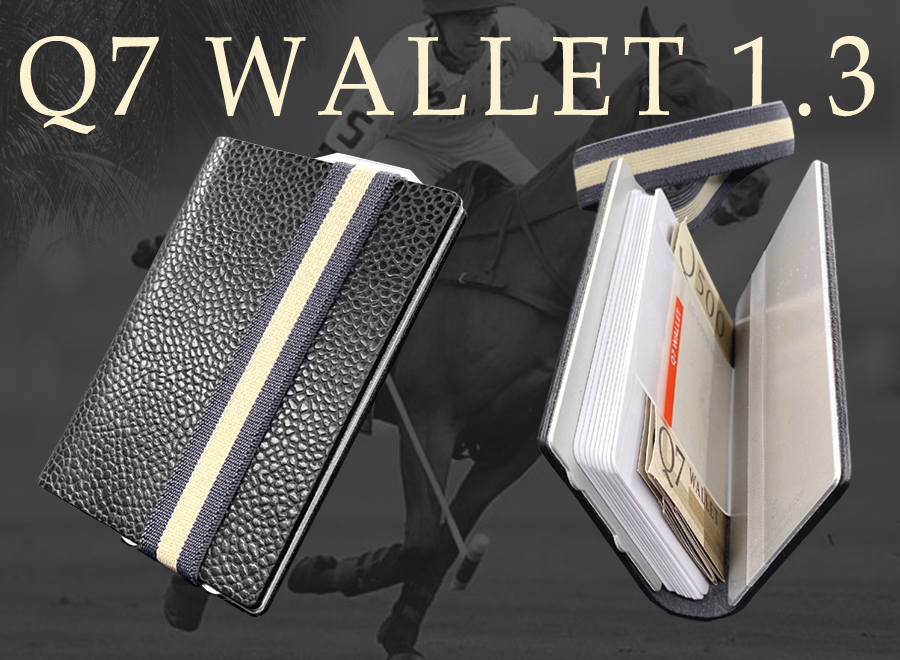 This photo shows the card holder Q7 WALLET once in open and once in closed view.